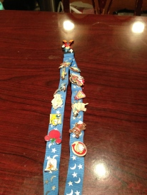 The pins on a lanyard, ready for trading.